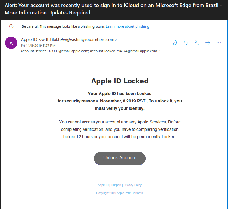 AppleID Phishing Email Campaign