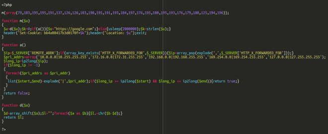 Typical pharma redirect code found on .su and .eu domains