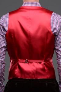 Bradley Needle Corduroy Waistcoat Back View in Crimson
