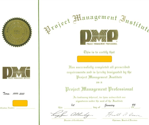 The PMP Certificate from 1998