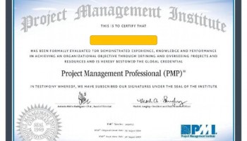 The PMP Certificate from 2016
