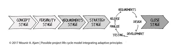 Possible project life cycle model integrating adaptive principles