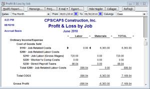 job costing reports