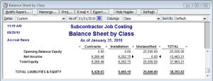 multiple class balance sheet