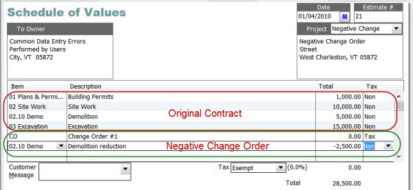 recording a negative change order