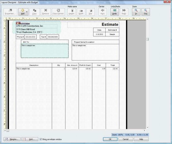 QuickBooks form Layout Designer