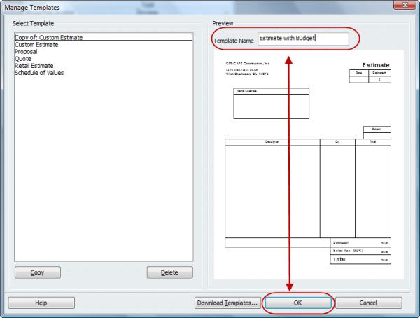 managing your QuickBooks templates