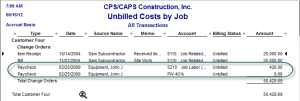 Unbilled Costs by Job Report