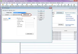 QuickBooks 2012 employee record - additional info tab