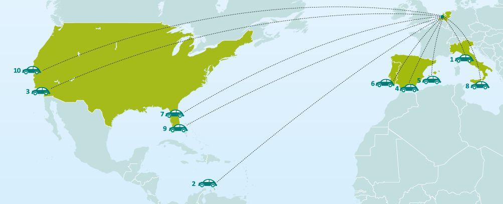 Top 10 bestemmingen autohuur zomer 2013