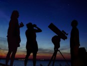 People observing the night sky