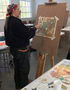 Dino painting in an art class