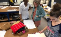 Fashion students working on their apparel designs
