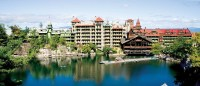 Mohonk Mountain House Hotel overlooking pond