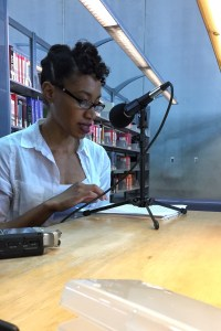 Venita Blackburn recording for the podcast