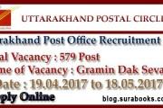 Uttarakhand Postal Circle Recruiting Gramin Dak Sevaks (GDS) Job Posts 2017