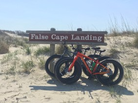 Another mile down the beach is the False Cape Landing beach access. Our bikes stopped to pose for a picture.