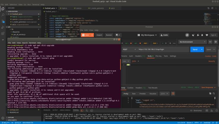 Development tools: Visual Studio Code, Postman, Terminal