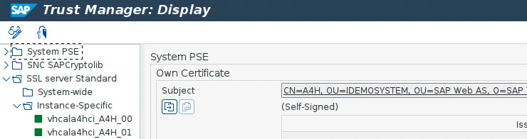 SAP Trust Manager: Create, re-new or export SSL certificate
