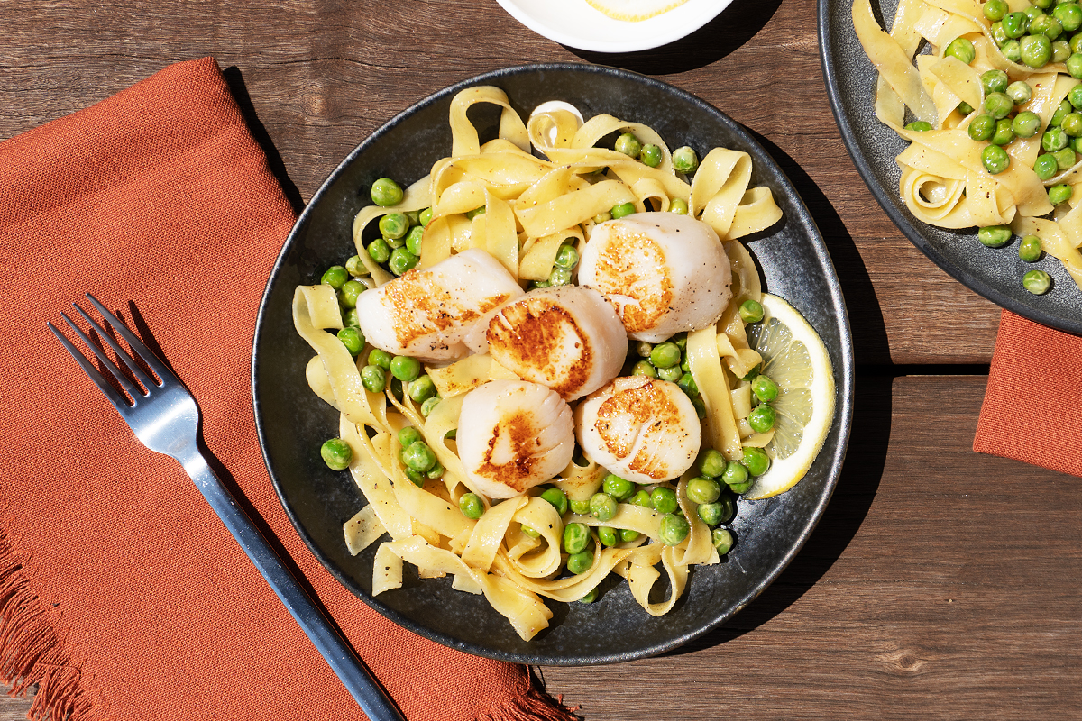 Sous Vide Scallops with Peas and Pasta