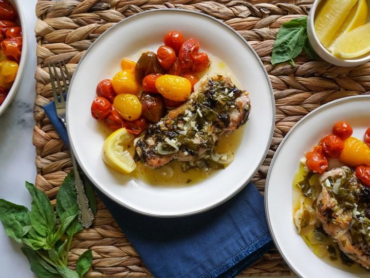 Lemon Basil Pork with Roasted Tomatoes