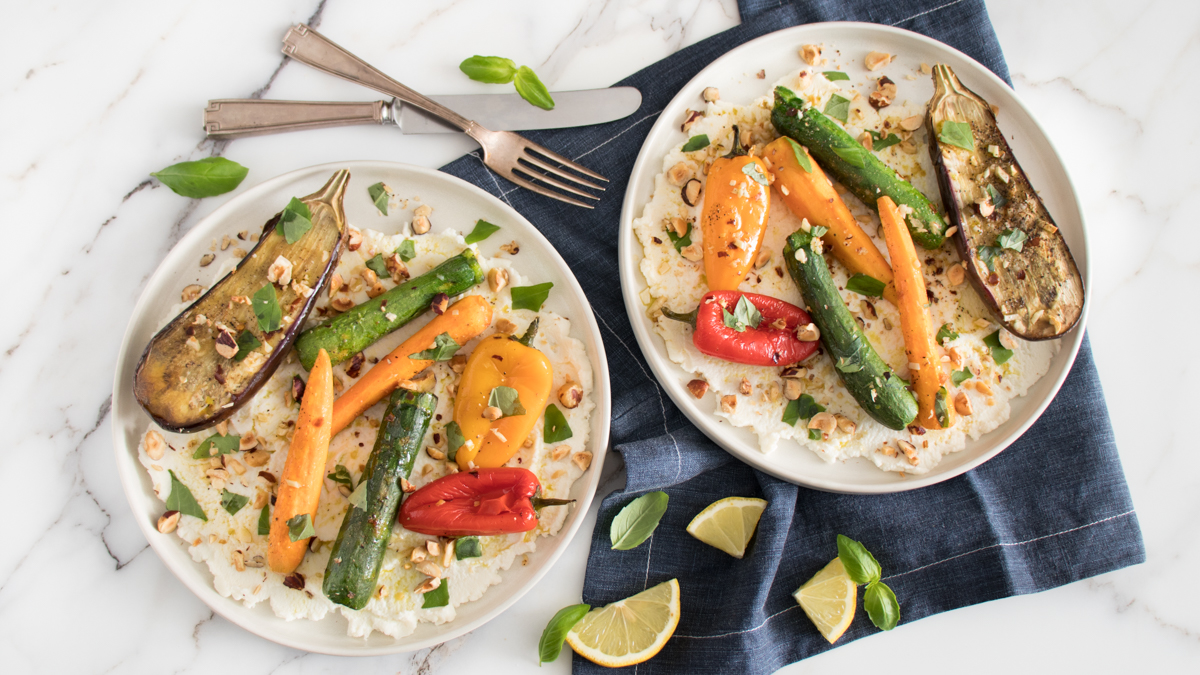 Roasted Baby Vegetables with Ricotta and Hazelnuts