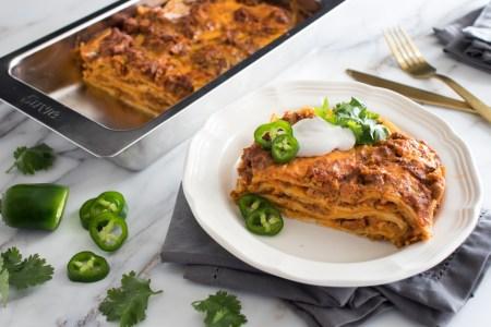 Chorizo and Cheese Burrito Lasagna