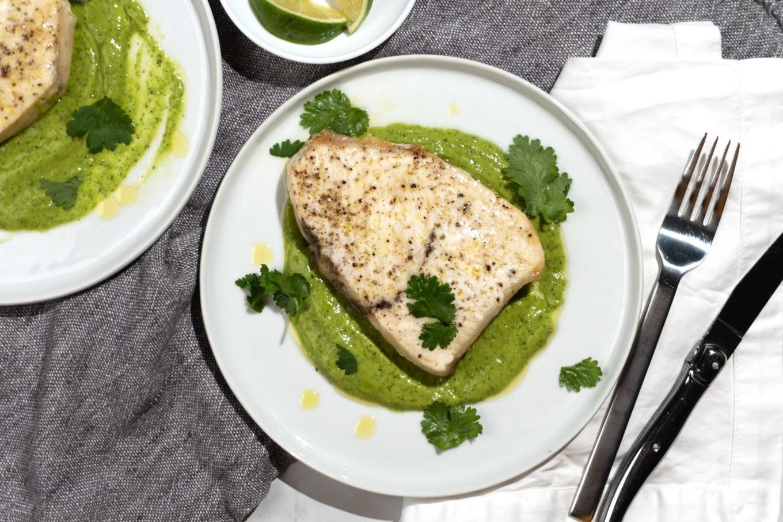 Roast Swordfish with Creamy Lime Vinaigrette