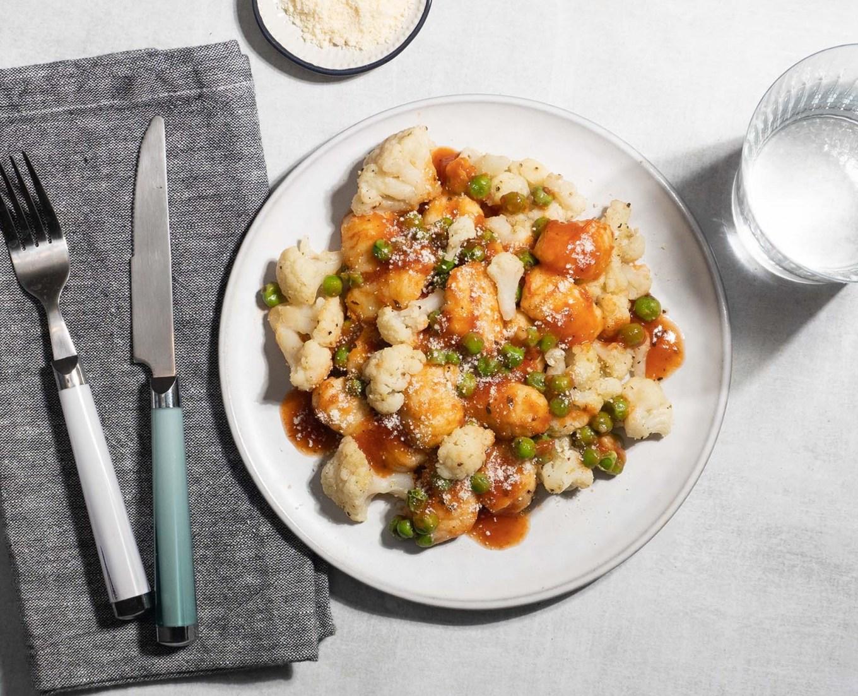 Garlic Herb Cauliflower with Marinara Gnocchi