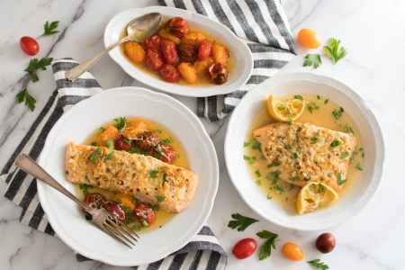 Salmon Scampi with Broiled Tomatoes