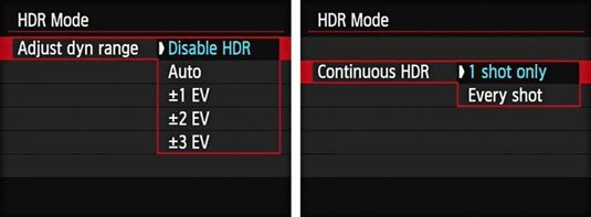 Canon 6D how to enable HDR