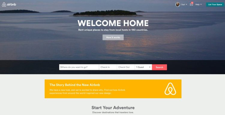 New Airbnb logo and website