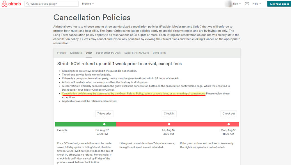 Airbnb cancellation policy