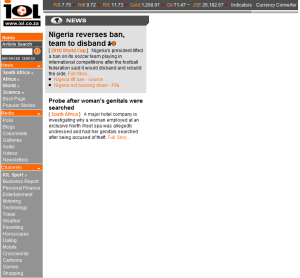 There are bits missing at www.iol.co.za