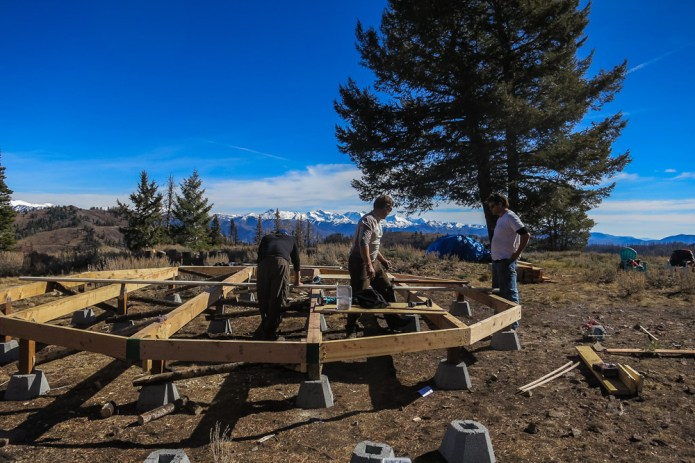 Laying out the 1st yurt deck