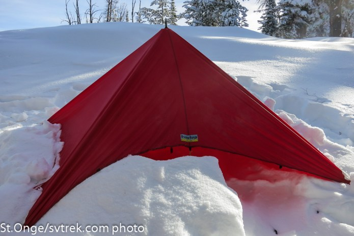 Brooks Range tarp emergency shelter as a pyramid