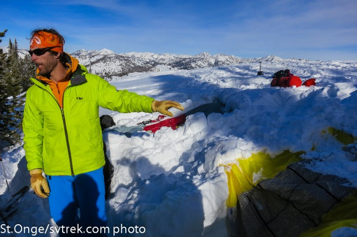 Chris showing how a Alpine Threadworks tarp/sled can work for a simple shelter.