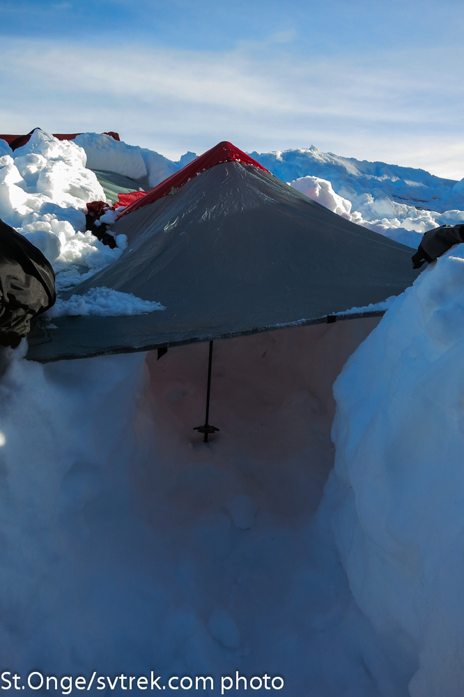 Brooks Range all-in-one tarp/sled in a simple trough structure.