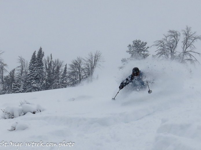 Fun powder skiing in thin snow (notice the sagebrush)