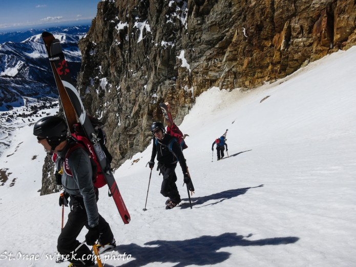 The final steps at the top of the Dorsal Fin Couloir