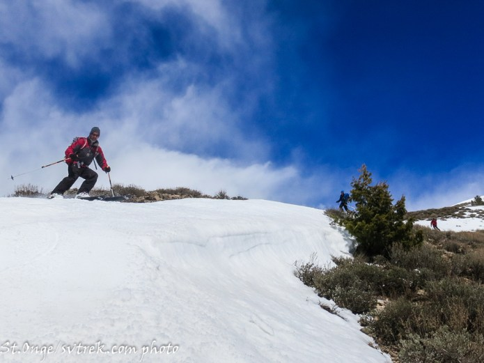 making the descent on snow-ribbons off the Peanut back toward the trailhead