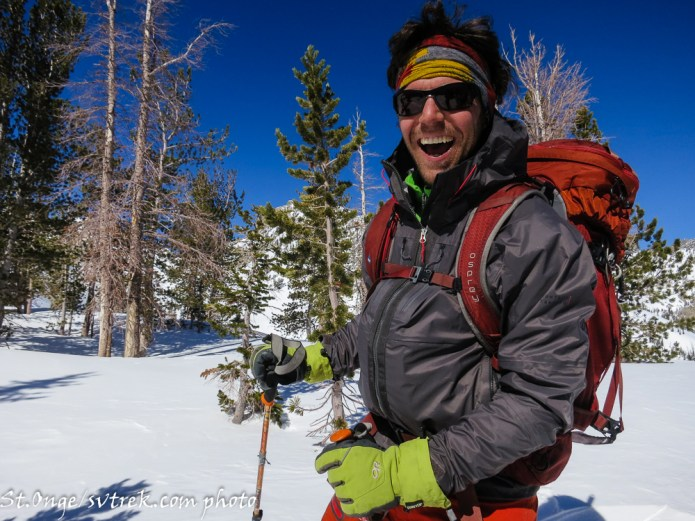 Toby, stoked after skiing perfect powder on Silver saddle bowl