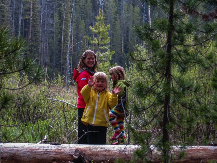 The girls, stoked after finding a Sandhill Crane in the meadow