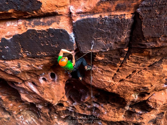 Niels gets the redpoint on a classic 5.10 in the Black Corridor.