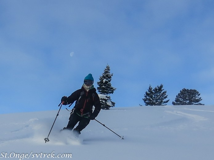 Hil, setting moon and silky powder skiing out the door from the yurts