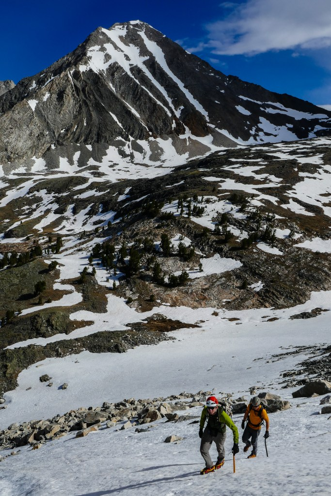 Cramponing toward the north couloir on Cobb