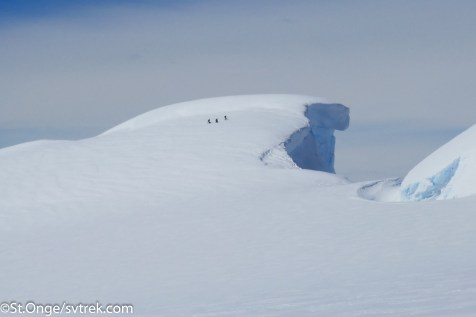 Massive cornices form on the ridgelines