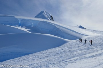 Huge crevasses split the glaciers