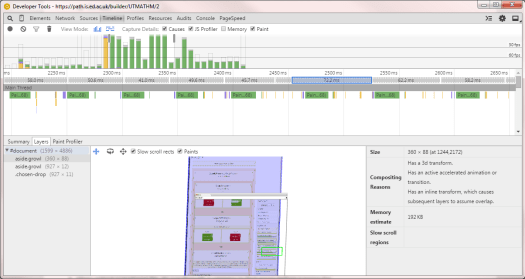 Performing some heavy debugging on Path's Programme Builder with Chrome DevTools.