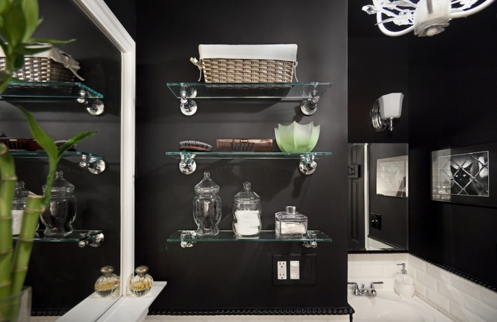 bathroom opening shelving